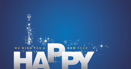 We wish you a Happy New Year 2018 silver blue background
