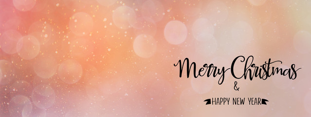 pink/coral Christmas abstract backdrop with quote - 'Merry Christmas & Happy New Year', panoramic style. Perfect for social media headers