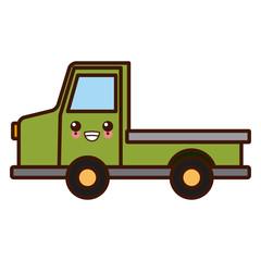 Pick up vehicle cute kawaii cartoon vector illustration
