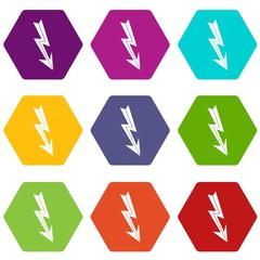 Arrow lightning icon set color hexahedron