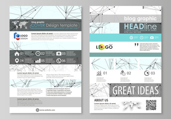 Blog graphic business templates. Page website design template, abstract vector layout. Chemistry pattern, connecting lines and dots, molecule structure on white, geometric graphic background.