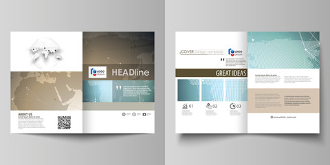The minimalistic vector illustration of the editable layout of two A4 format modern covers design templates for brochure, flyer, report. Chemistry pattern with molecule structure. Medical DNA research