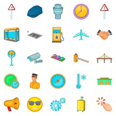 Order transport icons set, cartoon style
