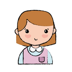 casual girl with hairstyle and blouse uniform