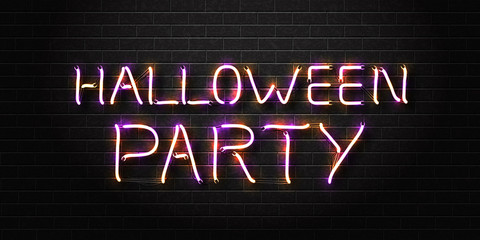 Vector realistic isolated neon sign of Halloween lettering for decoration and covering on the wall background. Concept of Happy Halloween Party.