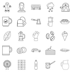 Infusion icons set, outline style