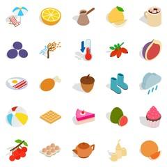 Mixture icons set, isometric style