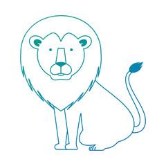 wild lion with bush jungle