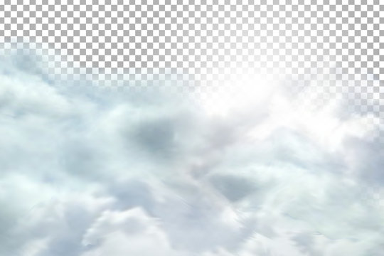 Vector realistic isolated fluffy clouds sky with bright sun for decoration and covering on the transparent background.