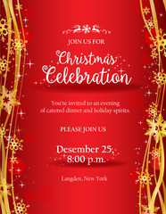 Christmas party invitation with gold decorative snowflakes