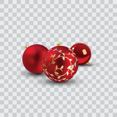 red christmas balls vector illustration