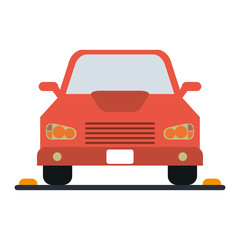 red parked car icon image vector illustration design