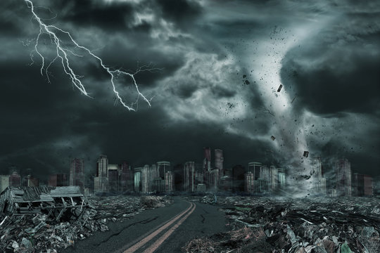 Cinematic Portrayal of City Destroyed by Tornado or Hurricane