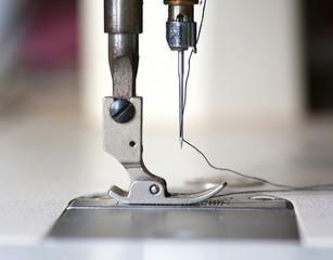 Closeup old sewing machine.