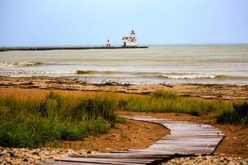 Lighthouse on Lake Michigan in Kewaunee, Wisconsin in Autumn