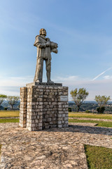 Statue of the Commander Nuno Alvares Pereira in front of the Medieval Castle of Ourem. Sculpted by Fernando Marques.