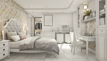 3d rendering cozy pastel scandinavian child bedroom with wardrobe