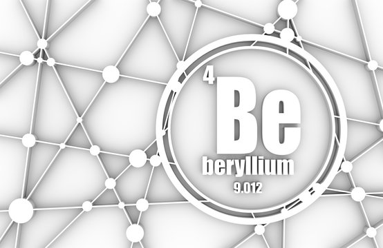 Beryllium chemical element. Sign with atomic number and atomic weight. Chemical element of periodic table. Molecule And Communication Background. Connected lines with dots. 3D rendering