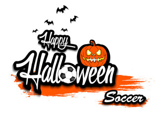 Banner happy halloween and soccer ball