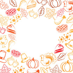 Hand drawing and doodle style vector and illustration of thanksgiving concept elements with copy space in red and orange color on white color background