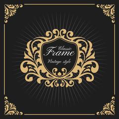 Vintage Luxury Monogram Logo Template for Banner, Label, Frame, Product Tags. Retro Emblem Banner Design. Vector illustration