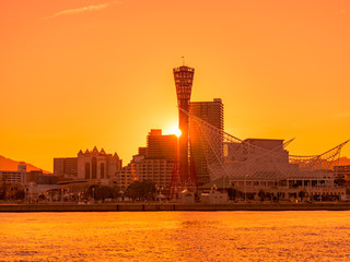 神戸の街と夕日
