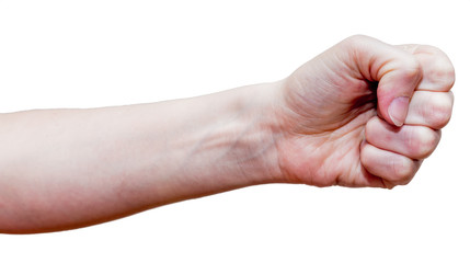 Female fist. Self-defense concept. Isolated on white background.