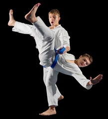 Boys martial arts fighters