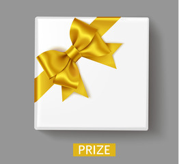 White gift box with golden bow on the corner and button with text Prize. Holiday decoration isolated on grey. Vector illustration