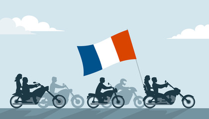 French bikers on motorcycles with national flag