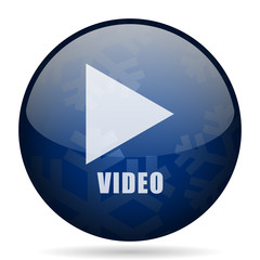 Video blue winter christmas design web icon. Round button for internet and mobile phone application designers.