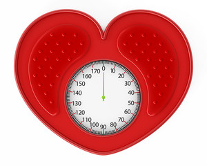 Heart shaped red bathroom scale. 3D illustration