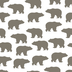 Seamless pattern with cute bears in simple cartoon style.