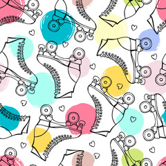 Seamless pattern with cute retro roller skates.