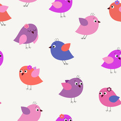 Decorative stylish seamless pattern with pink birds
