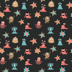 Decorative seamless pattern with aliens and stars