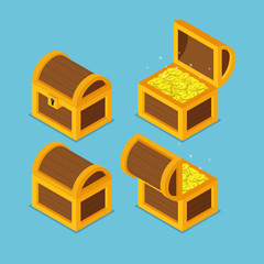 Isometric wooden treasure chests.
