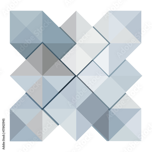 Geometric Pattern Vector Blue Triangle Background In Origami Paper Folding Style For Cover Page Design