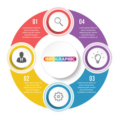 Vector infographic circle template with 4 steps, parts, options, sectors, stages. Can be used for graph, pie chart, workflow layout, cycling diagram, brochure, report, presentation.