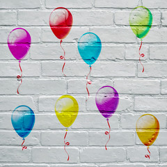 Art urbain. Ballons multicolores