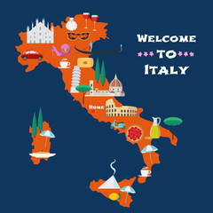 Map of Italy vector illustration, design