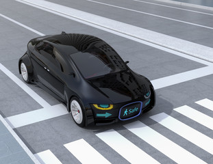 Black self-driving car's front grille showing digital signage for pedestrian. Concept for communication between autonomous car and pedestrian. 3D rendering image.