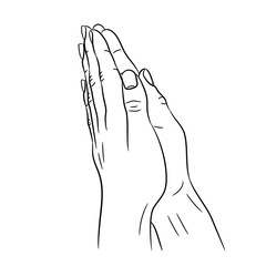 put together hands from the contour black lines on white of vector illustration