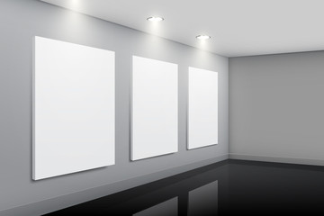 Gallery interior with empty pictures, vector design