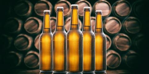 Beer bottles on wooden barrels background. 3d illustration