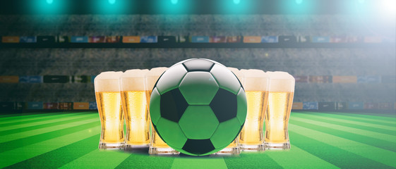 Beer glasses on a soccer ball field background. 3d illustration