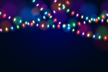 Christmas multicolored lights on a dark background. Celebratory background. Glowing garlands. Luminous oval light bulbs. Vector