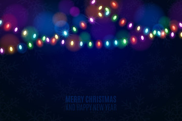 Christmas multicolored lights on a dark background. Snowflakes on the background. Celebratory background. Multicolored glare. Glowing garlands. Luminous oval light bulbs. Vector