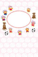 犬とサッカーボールとキッズのイラストのピンクの写真フレームのポストカード