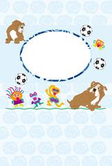 犬とサッカーボールとキッズのイラストのブルーの写真フレームのポストカード